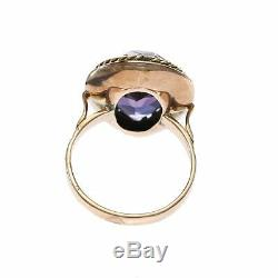 Antique Victorian 9.35CTW Pear Shape Amethyst Cocktail Ring 14k Rose Gold