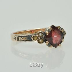 Antique Victorian 9k Gold Faceted Garnet & Seed Pearl Estate Ring Size 4 1/2