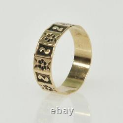 Antique Victorian 9k Gold PRISTINE Infant Child Etched Ornate Floral Estate Ring