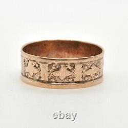Antique Victorian 9k Pink Gold Vintage Fancy Detailed 6.5m Wide Band Estate Ring