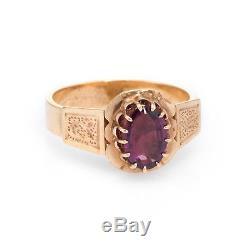 Antique Victorian Almandine Garnet Ring Vintage 14k Rose Gold Estate Jewelry