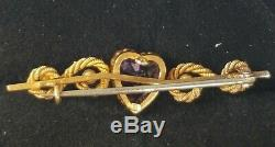 Antique Victorian Amethyst Pearl Heart 15k Gold Pin Brooch-Estate Jewelry 4.1g