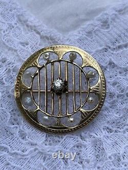 Antique Victorian Art Nouveau Bell Epoque Diamond & Seed Pearl Etched Pin Brooch