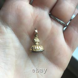 Antique Victorian Bloodstone Watch Fob Rolled Gold 1800s Estate Vintage Pendant