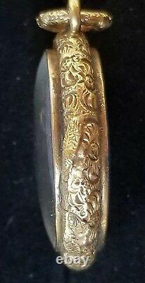 Antique Victorian Blue Enamel Locket Pendant Yellow Gold 15k-Estate Jewelry-9.6g