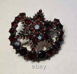 Antique Victorian Bohemian Garnet Brooch Pins Collection Estate Fine Jewelry