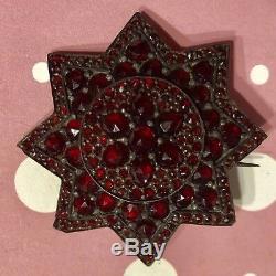 Antique Victorian Bohemian Rose Cut Garnet 8 Point Star Silver Brooch Pin-Estate