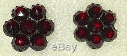 Antique Victorian Bohemian Rose Cut Garnet Pierced Post Silver Earrings-Estate