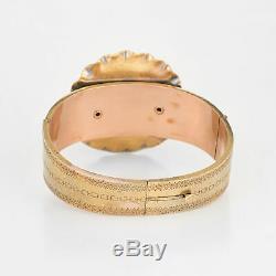 Antique Victorian Bracelet 14k Yellow Gold Purple Guilloche Enamel Ribbon Estate