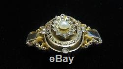 Antique Victorian Brooch/Pin in 14K Gold with32 Old Rose Cut Diamonds+PearlEstate