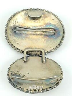 Antique Victorian Cameo Carved Shell Sterling Silver Buckle 1800 Estate Stamped