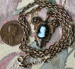 Antique Victorian Cameo Pendant & 14k Gold Necklace 17 Estate Jewelry Find