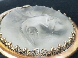 Antique Victorian Carved Man In The Moon 9 K Gold Brooch Pin Estate Jewelry