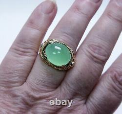 Antique Victorian Chrysoprase Mine cut Diamond Mens Ring 18K Gold Estate