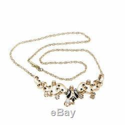 Antique Victorian Diamond Black Enamel Pendant Queen Necklace 14k Yellow Gold