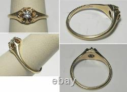 Antique Victorian Diamond Engagement Ring 14k Yellow Gold Belcher Sz 6.25 Estate