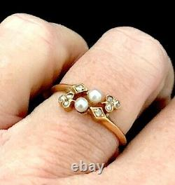 Antique Victorian Edwardian 18K Gold Pearl Diamond Chips Ring