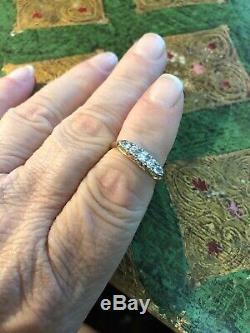 Antique Victorian Edwardian 18k Gold 5 Stone Diamond Ring Gorgeous Estate Piece
