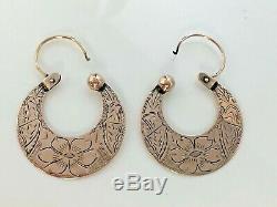 Antique Victorian Elegant 10k rose Gold 4.7g hand engraved Hoop Pierced Earrings