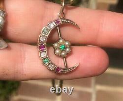 Antique Victorian Emerald, Ruby, Diamond and pearl Pendant 9ct
