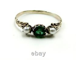 Antique Victorian Emerald and Seed Pearl Ring 10ct Gold Ring Size 7.5
