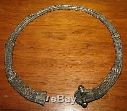 Antique Victorian Era Estate Clover Rope Sterling Silver Choker Necklace