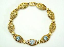 Antique Victorian Estate 10K Yellow Gold Aquamarine Filigree Bracelet 7 1/4