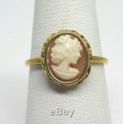 Antique Victorian Estate 10k Yellow Gold Cameo Ring Sz 6.75 2.2gr