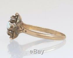 Antique Victorian Estate 14k Gold. 26ct Genuine Rose Cut Diamond & Opal Ring