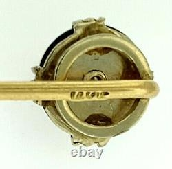 Antique Victorian Estate 14k Gold Genuine Black Onyx And Diamond Stick Pin