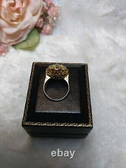 Antique Victorian Estate 14k Gold Seed Turquoise Starburst Ring size 3.5 withbox
