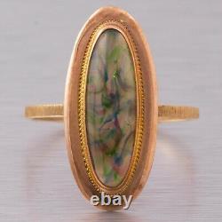 Antique Victorian Estate 14k Rose Gold Oblong Oval Cabochon Opal Ring Size 5.75