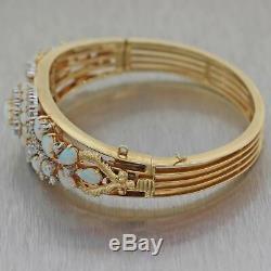 Antique Victorian Estate 14k Yellow Gold 2ctw Diamond Fire Opal Bangle Bracelet