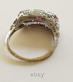 Antique Victorian Estate 1800's 1900's 14k Gold Pink Sapphires Filigree Ring