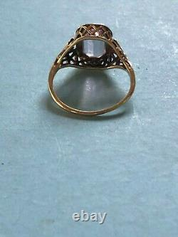 Antique Victorian Estate 1800's 1900's 14k Rose Gold Amethyst Filigree Ring