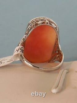 Antique Victorian Estate 1800's 1900's Vintage 10k GOLD Cameo Filigree Ring