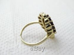 Antique Victorian Estate 1800's 9K Gold Rose Cut Bohemian Garnet Ring Size 6.5
