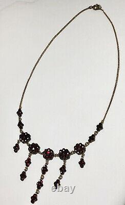 Antique Victorian Estate Bohemian Red Garnet Floral Necklace
