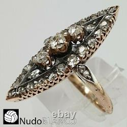 Antique Victorian Estate Cluster Marquise Ring Gold 18k Old Cut Diamonds C1850