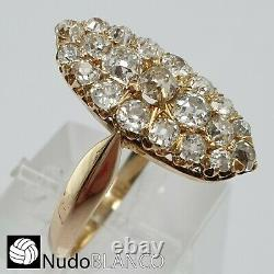 Antique Victorian Estate Cluster Marquise Ring Old Cut Diamonds C1850 Gold 18k