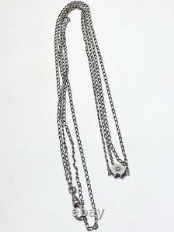 Antique Victorian Estate Hallmarked Sterling Silver Pocket Watch Fob Slide Chain