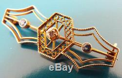 Antique Victorian Estate Pin Brooch 14k Yellow Gold Diamondd Sapphire