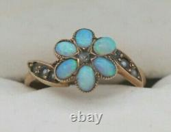 Antique Victorian Estate Rose Gold 6 Opal Cabochon SEED PEARL DIAMOND Ring 6 1/2