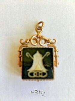 Antique Victorian Estate Rose Gold Intaglio Cameo Fob Locket Photo Pendant