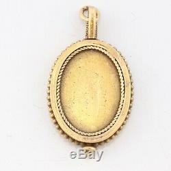 Antique Victorian Estate Solid 14k Yellow Gold Engraved Roman Bust Pendant