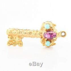 Antique Victorian Etruscan Revival 14k Yellow Gold Amethyst Turquoise Key Charm