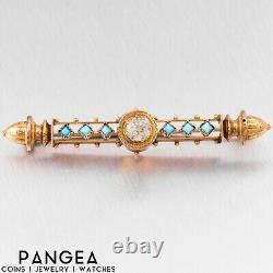 Antique Victorian Etruscan Revival 14k Yellow Gold CZ Turquoise Brooch Pin
