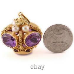 Antique Victorian Etruscan Revival 18k Yellow Gold Gemstone Royal Crown Charm