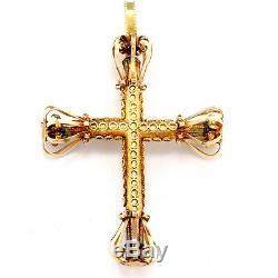Antique Victorian Etruscan Revival 18k Yellow Gold Ornate Cross Pendant 3 x 2