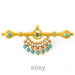 Antique Victorian Etruscan Revival 18k Yellow Gold Turquoise & Pearl Brooch Pin